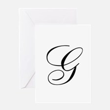 G Initial in Black Script Greeting Cards