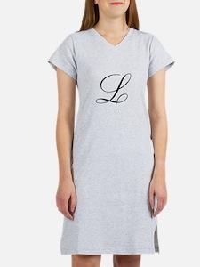 L Initial in Black Script Women's Nightshirt