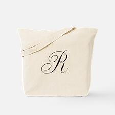 R Initial in Black Script Tote Bag