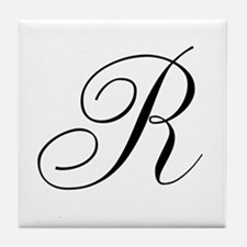 R Initial in Black Script Tile Coaster