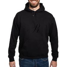 R Initial in Black Script Hoodie