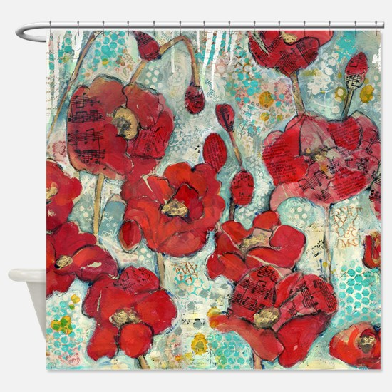 red and turquoise shower curtain. Glowing Red Poppies Shower Curtain Turquoise Curtains  CafePress