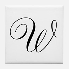 W Initial in Black Script Tile Coaster