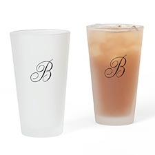 B Initial in Black Script Drinking Glass