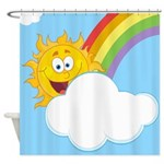 Fun Sun And Rainbow In Clouds Shower Curtain