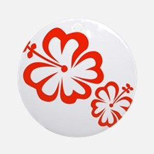 Red Hibiscus Flowers Ornament (Round)