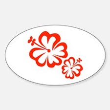 Red Hibiscus Flowers Decal
