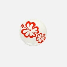 Red Hibiscus Flowers Mini Button