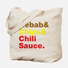 Kebab and Chips and Chili Sauce. Tote Bag