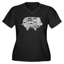 Pork Cuts I Women's Plus Size V-Neck Dark T-Shirt