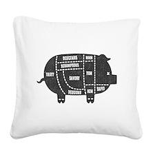 Pork Cuts III Square Canvas Pillow