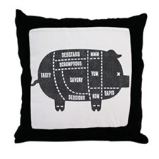 Pork Cuts III Throw Pillow