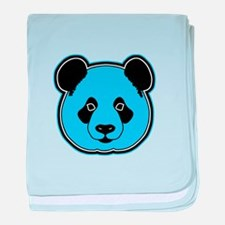 panda head blue 01 baby blanket