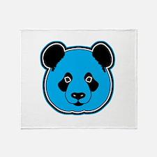 panda head blue 01 Throw Blanket