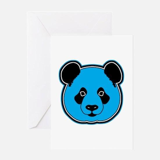 panda head blue 01 Greeting Card