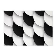 Black and White Abstract 5'x7'Area Rug