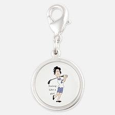 Swing like a Girl Golf Sport Fun Cartoon Charms