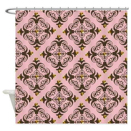 pink and brown damask shower curtain by manchesterandbedding. Black Bedroom Furniture Sets. Home Design Ideas