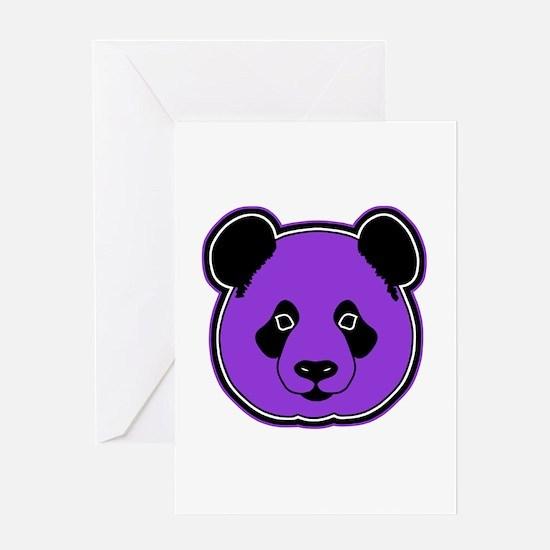 panda head purple 01 Greeting Card