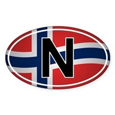 Norwegian Oval Car Sticker - Flag Design