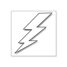 "Black and White Lightning B Square Sticker 3"" x 3"""