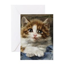 Portrait of a kitten painted by Juli Greeting Card