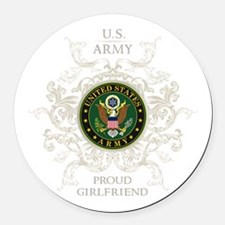 US Army Seal proud girlfriend Round Car Magnet