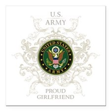 """US Army Seal proud girlf Square Car Magnet 3"""" x 3"""""""