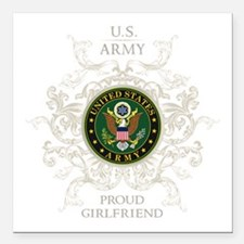 "US Army Seal proud girlf Square Car Magnet 3"" x 3"""