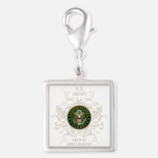 US Army Seal proud girlfriend Silver Square Charm