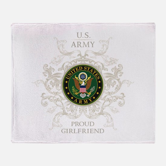 US Army Seal proud girlfriend Throw Blanket