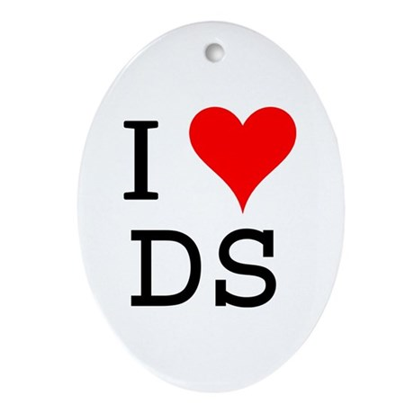 I Love DS Oval Ornament