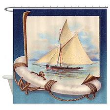 Vintage Nautical Sailing Ship Shower Curtain