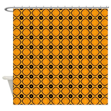 Orange And Black Circle Pattern Shower Curtain By PatternedShop