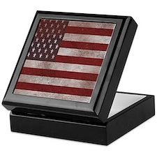 Vintage American Flag 3 Keepsake Box