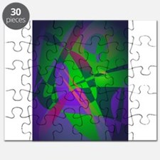 Purple and Green Abstract Composition Smooth Grada