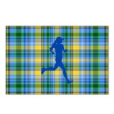 Runners Plaid female blue Postcards (Package of 8)