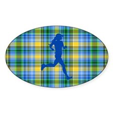 Runners Plaid female blue Decal