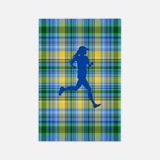 Runners Plaid female blue Rectangle Magnet
