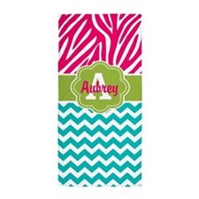 Pink Teal Green Chevron Zebra Personalized Beach T