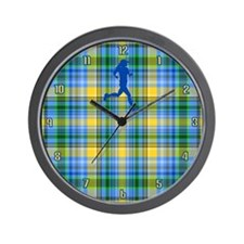 Runners Plaid female blue Wall Clock