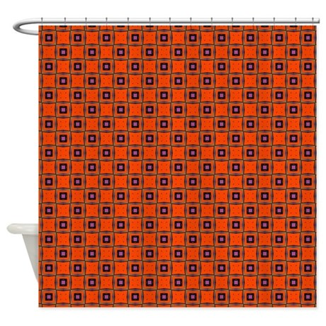 Orange Black Squares Shower Curtain By PatternedShop