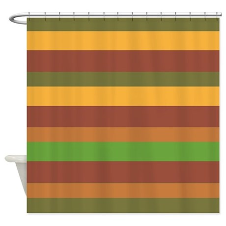 Earth Tone Stripes Shower Curtain