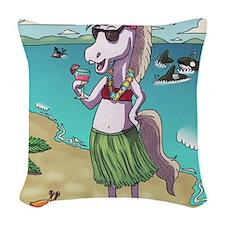 Unicorn Luau Woven Throw Pillow