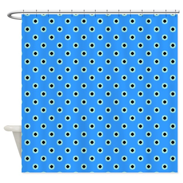 Light blue polka dot pattern shower curtain by patternedshop for Light blue patterned curtains