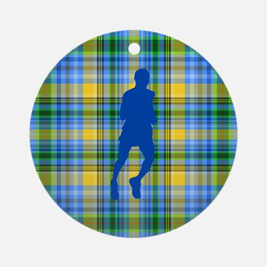 Runners Plaid male blue Ornament (Round)