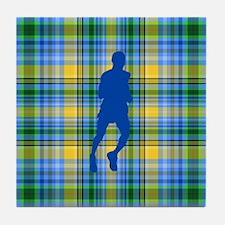 Runners Plaid male blue Tile Coaster