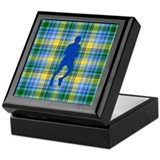 Runner plaid male blue Square Keepsake Boxes