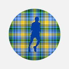 "Runners Plaid male blue 3.5"" Button"