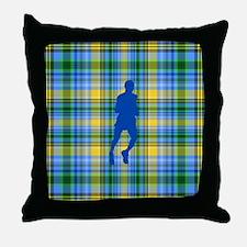 Runners Plaid male blue Throw Pillow